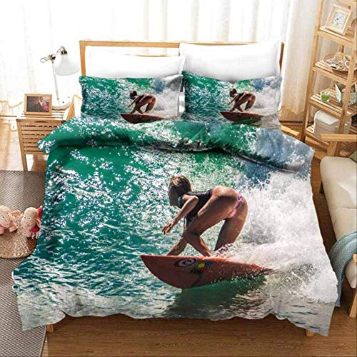 Double Bed Duvet Sets, 3D Bedding Set Duvet Cover Set And Pillowcase'Surfing Beauty'Bedding Luxury Home Textiles Linens Bedclothes Eu Single White