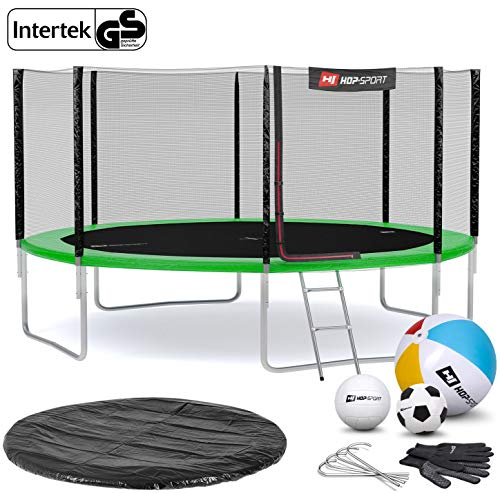 Hop-Sport Gartentrampolin Outdoor Trampolin 244, 305, 366, 430, 490 cm Komplettset inkl. Außennetz Leiter Wetterplane Bodenhaken 430cm