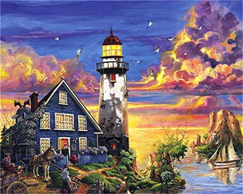 HU0QWPKU vuurtoren, nachtlampje aan zee, olieverfschilderij, digitaal, romantische set, mooie schilderijen, om zelf te maken, olieverfschilderij, schilderij, wanddecoratie, cadeau, canvas voor kinderen 40cmx50cm