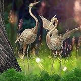 TERESA'S COLLECTIONS Metallvögel Kranich Gartenfiguren 2er Set 99/ 85cm große Vogel Tierfiguren Gartendeko im Rost-Optik Tier Dekofiguren für Außenbereich Teich Fischteich MEHRWEG Verpackung