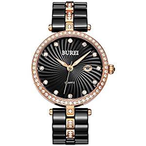 BUREI Women's Black Ceramic Watch with Rose Gold and Black Dial