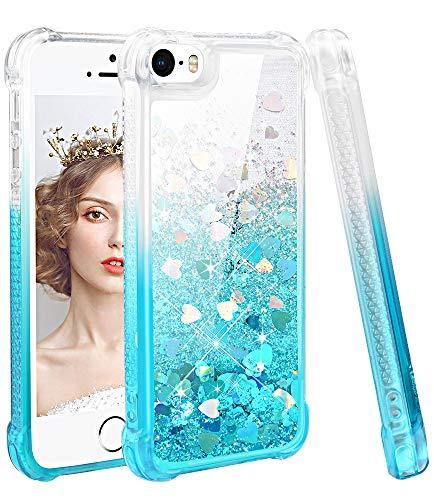 wlooo Glitzer Hülle Kompatibel mit iPhone SE/5/5S, handyhülle iPhone SE Glitzer, handyhülle iPhone 5S, Flüssig Treibsand Glitter Gradient Quicksand Weich TPU Silikon Schutzhülle (Gradient Teal)