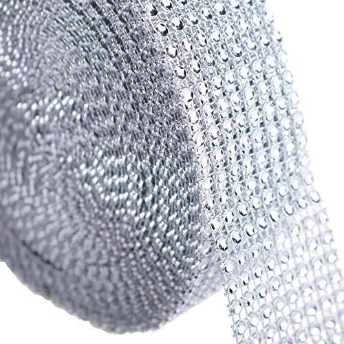 PMLAND Silver Diamond 8-Row Rhinestone Mesh Ribbon Wrap – Bulk Package 1.5 Inch Wide x 10 Yard (30 Feet) Long