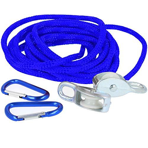 com-four® Flaschenzug für Kinder ab 8 Jahren, Seilzug bis max. 15kg (blau)