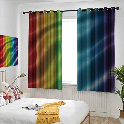 Price comparison product image Irene Rossetti Red Orange Yellow Green Blue Purple Curtains 84 Inches Long,  Rainbow Flag Bedroom Curtains 72x84 Inch Black-Out Luxury Design Print Curtain
