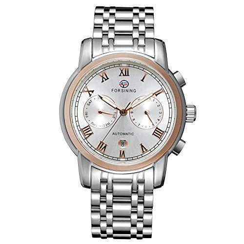 GJHBFUK Reloj de Hombre Moda De Negocios De Negocios Analógico Automático Movimiento Mecánico Reloj Rosa Oro Blanco Dial
