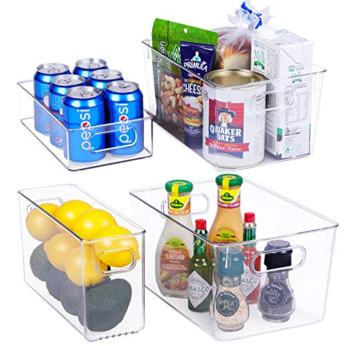 Plastic Refrigerator Organizer Bins - 4 Piece Clear Fridge Organizer Bins Set for Pantry with Handle Refrigerator Clear Organizer Bins Clear Plastic Freezer Storage Bins,Fridge Organization