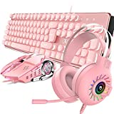 4-in-1 Gaming Keyboard Mouse Combo Wired White Led Backlit 104 Keys Ergonomic Gamer Pink Keyboard + 2400DPI Adjust 6 Buttons USB Optical Game Mouse 3.5mm Gaming Stereo Headset for PC Laptop Computer