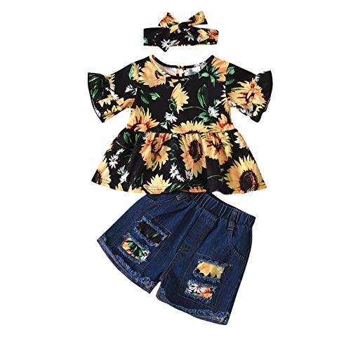 Conjunto de 2 piezas de verano para niña, camiseta con estampado de girasol, manga corta, pantalones vaqueros cortos con tirantes, elásticos Negro 12-18 Meses