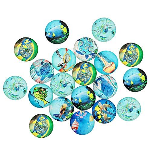 Milageto 20x Sea World Pattern Vidrio CABOCHON Imán de Nevera con Espalda Plana Cameo Jewelry DIY