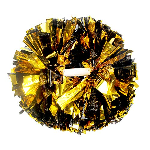 Hooshing 2 Pack Pom Poms Cheerleading Gold and Black Metallic with Baton Handle for Cheerleader Sports Dance Team Spirit Party Kids Adults