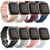 8 Pack Sport Bands Compatible with Fitbit Versa 2 / Fitbit Versa/Versa Lite/Versa SE, Classic Soft Silicone Replacement Wristbands Straps for Fitbit Versa 2 Smart Watch Women Men (8 Pack A, Small)