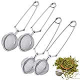 Ball Tea Strainer Tea Strainer Tè Sfuso Pinze Filtro Te Colino Tisane Tea Filter Long Grip Cucchiaio Infusore Filtro Tè Infusione Tea Infusore Acciaio Inox per Foglie tè Spezie Stagionatura 4 Pezzi