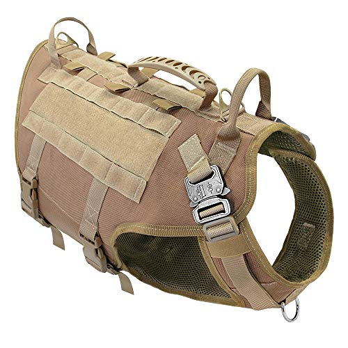 MMWW Hundegeschirr Weste Nylon Tactical Hundegeschirr No Pull Pet Woking Dog K9 Training Jagdgeschirre für mittelgroße Hunde-Kaffee_M.