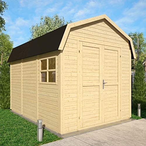 Rowlinson Natural Unpainted 11 x 8 Dutch Barn Garden Shed - Self Assembly