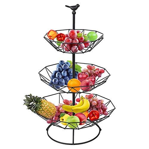 DLILI 3-nivås tråd metall fruktkorg skål bänkskiva fruktkorg avtagbar grönsaksbrödkorg display förvaringsställ perfekt för mellanmål, hushållsartiklar, svart, korg förvaringslåda