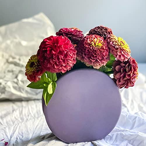 Rhapsody Studio Round Lavender Vase, Ceramic Vase Home Decor, Concrete Vase Decoration For Living Room, Vases For Decor, Vases For Flowers,Aesthetic Room Decor,Modern Vase,Flower Vases Decorative Gift
