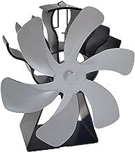 FLAMEER Ventilador de Chimenea de Estufa de Calor de 6 aspas para el hogar Chimenea de leña de leña Que circula Aire Caliente Ahorra Combustible de Manera - Plata