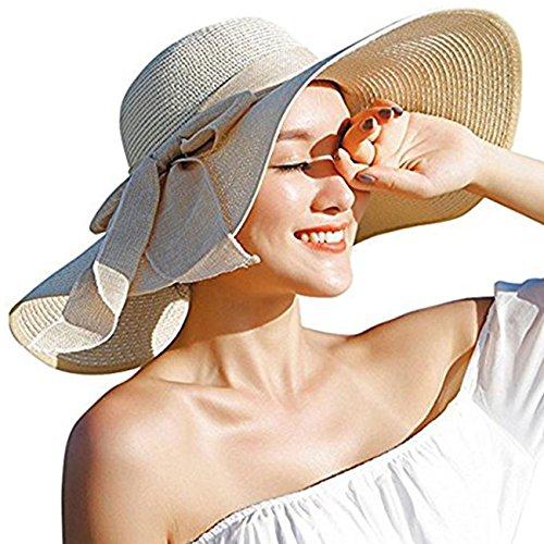 DRESHOW Stroh Sommerhut mit Sonnen Shade Bogen UPF 50+ Schlaff Aufrollen Strand Sonnenblende Böhmen Sonnenhut Hut für Damen - Beige - Gr. Einheitsgröße