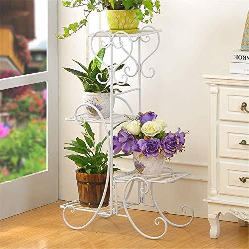 Flower stand ZT Jardinière 4 Couches Pot de Fleurs en métal Support Jardinière Jardin décoratif Fleur Afficher Pot de Fleurs Support de Rangement Durable (Color : White, Size : One Size)