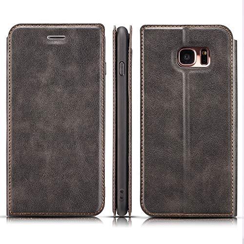 Funda telefónica para Galaxy S7 Retro Simple de Cuero magnético Ultrafino con Soporte y Ranuras para Tarjetas y cordón (Color : Black)