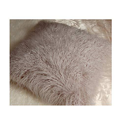 Q.Kim - Housse de coussin décorative en fausse fourrure de Mongolie, ultra-douce, gris, 24\