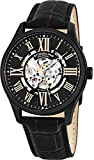 Stuhrling Original Mens Stainless Steel Automatic Watch, Black Skeleton Dial, Leather Band, Gold Numerals and Hands, 747 Series