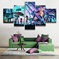 FYZKAY Cuadro en Lienzo 5 Partes Wall Art Picture Print Landscape Modern Decor Rick Morty Animation Cartoon Poster Sin Marco