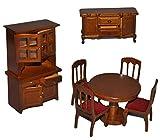 Unbekannt 7 TLG. Set: Speisezimmer / Eßzimmer aus dunklem Holz - Miniatur - Schrank + 4 Stühle + Tisch + Kommode - Puppenstubenmöbel für Puppenstube Maßstab 1:12 - Pupp..
