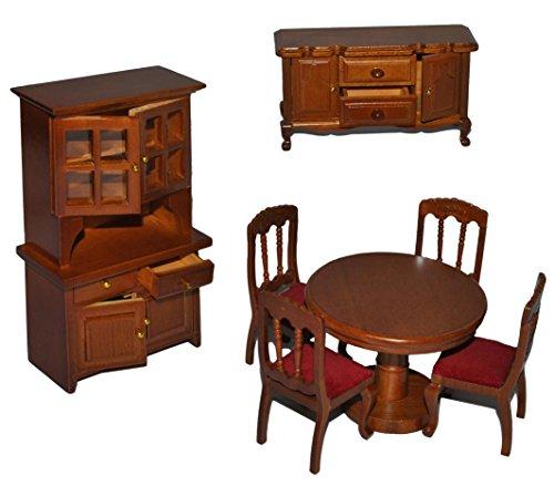 7 TLG. Set: Speisezimmer / Eßzimmer aus dunklem Holz - Miniatur - Schrank + 4 Stühle + Tisch + Kommode - Puppenstubenmöbel für Puppenstube Maßstab 1:12 - Pupp..