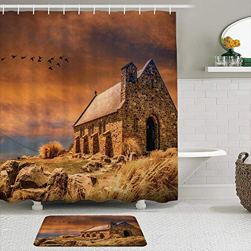 AXEDENRRT Fabric Shower Curtain and Mats Set,Rural House Rustic Scenenry Brick Chimney Farmhouse Closing to Fantasy Sky Birds Plateau Weeds,Water Repellent Bath Curtains with 12 Hooks,Non Slip Rugs