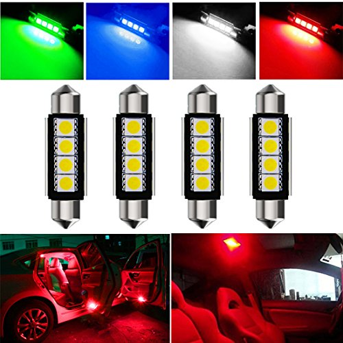 Botepon 4Pcs 211-2 212-2 578 LED Festoon Bulb 42mm 5050 3SMD Canbus Error For Car interior Dome/Map/Trunk/License Plate Light Red