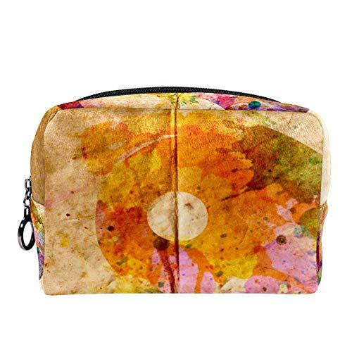 TIZORAX Kosmetiktasche mit Aquarell-Yin-Yang-Symbol, altes Papier, Kosmetiktasche, Handtasche mit Reißverschluss