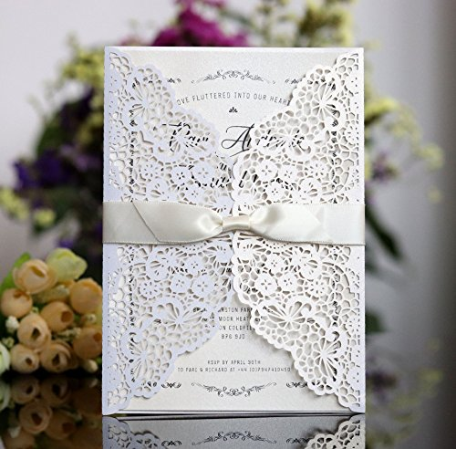 Better-way 100pcs Laser Cut Wedding Invitations with Lace and Hollow Out Design, Invitations Card with Ribbon for Wedding Baby Shower Engagement Birthday Party (White)