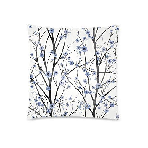 QUEMIN Spring Blue Cherry Tree Blossom Decor Dekorative Kissenbezug-Kissenbezüge, Kissenbezugschutz mit Reißverschluss, 18 x 18 Zoll