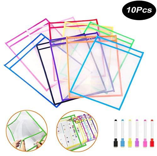 10 Piezas Resuable Dry Erase Pockets Papelería Suministros 35.5×25.5 cm, Oficina, Reutilizable Escribir y LimpiarBolsillos para la Organización en el Aula y Colegio y Trabajo