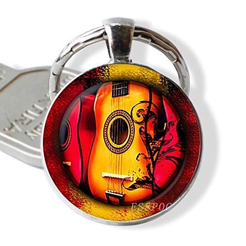 DSBN sleutelhanger, gitaar, muziek, hangers van glas, gitaar, sleutelhanger, muziekinstrument, sieraden, liedjes, leraar, cadeau, maat 5