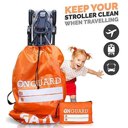 OnGuard Double Stroller Travel Bag - Waterproof Rip Resistant Polyester Compact - Stroller Bag Cover Accessories, Stroller Bag for Airplane, Stroller Gate Check bag