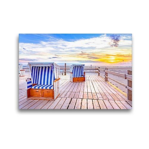 Premium Textil-Leinwand 45 x 30 cm Quer-Format SPO Strandkörbe im Sonnenuntergang | Wandbild, HD-Bild auf Keilrahmen, Fertigbild auf hochwertigem Vlies, Leinwanddruck von Andrea Dreegmeyer