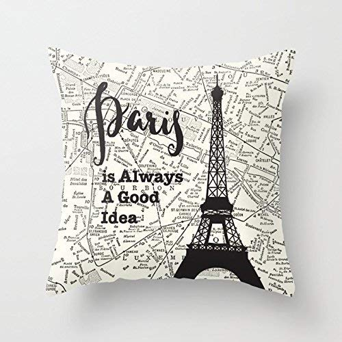 Paris Travel Square Pillow Case Map Black and White Bed Pillow Cover Cushion Case Cover for Sofá Double Side 18 x 18 Inch