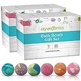 Bath Bombs Gift Set by Sky Organics (6 ct x 2 Pack) Assorted Colored Jumbo Bath Fizzies Spa Quality Bath Bombs Scented Bath Fizzies Made in The USA Bubble Bath Fizzy Set
