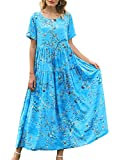 YESNO Women Casual Loose Bohemian Floral Dress with Pockets Plus Size Short Sleeve Long Maxi Summer Beach Swing Dress (3XL EJF CR44)