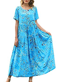 YESNO Women Casual Loose Bohemian Floral Dress with Pockets Plus Size Short Sleeve Long Maxi Summer Beach Swing Dress  3XL EJF CR44