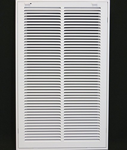 14' X 24' Steel Return Air Filter Grille for 1' Filter - Removable Face/Door - HVAC Duct Cover - Flat Stamped Face -White [Outer Dimensions: 15.75w X 25.75h]
