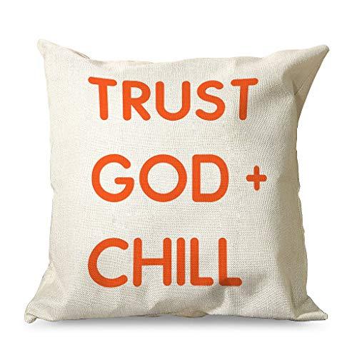 IOVEQG Trust G-od - Funda de almohada con cremallera para oficinas, color blanco, 45 x 45 cm