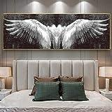 woplmh Carteles e Impresiones de Lienzo de alas de ángel en Blanco y Negro, Cuadros de Arte de alas abstractas Vintage para decoración de Sala de Estar / 50x150cm-Sin Marco