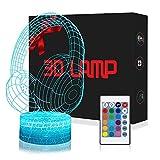 Casque 3D Lampes avec Télécommande, QiLiTd LED Lampe 7 couleurs Lumière Dimmable...