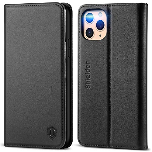 SHIELDON iPhone 11 Pro Hülle, Stoßfeste Handyhülle [100prozent Rindsleder] [RFID Blocker] [Auto Sleep/Wake], TPU Schutzhülle [Kartenfach] [Magnet] [Stand] Lederhülle Kompatibel für iPhone 11 Pro 5,8 Schwarz