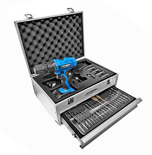 Hyundai 15300 Taladro atornillador a batería codless + accesorios, 18 V, azul