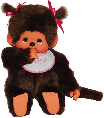 alles-meine.de GmbH XXL Mädchen  Monchhichi  - mit 2 Zöpfe - 45 cm - Plüschtier / Kuscheltier - mit rotem Lätzchen - Monchichi - rosa Pinker Latz - groß - AFFE - Kinderplüsch S..